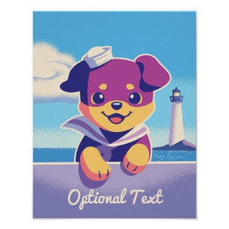 Rottweiler Puppy Sea Dog Sailor Poster