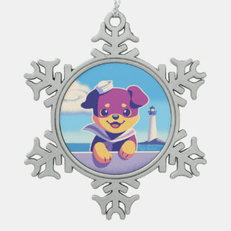 Rottweiler Puppy Sea Dog Sailor Snowflake Pewter Christmas Ornament
