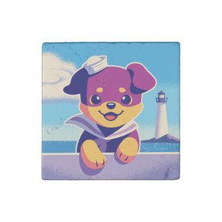 Rottweiler Puppy Sea Dog Sailor Stone Magnets