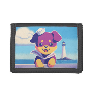 Rottweiler Puppy Sea Dog Sailor Trifold Wallets