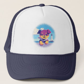 Rottweiler Puppy Sea Dog Sailor Trucker Hat