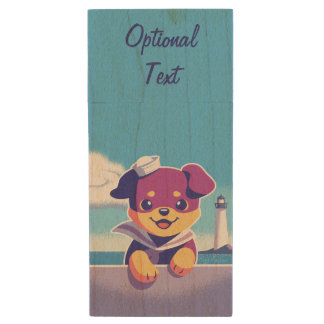 Rottweiler Puppy Sea Dog Sailor Wood USB Flash Drive