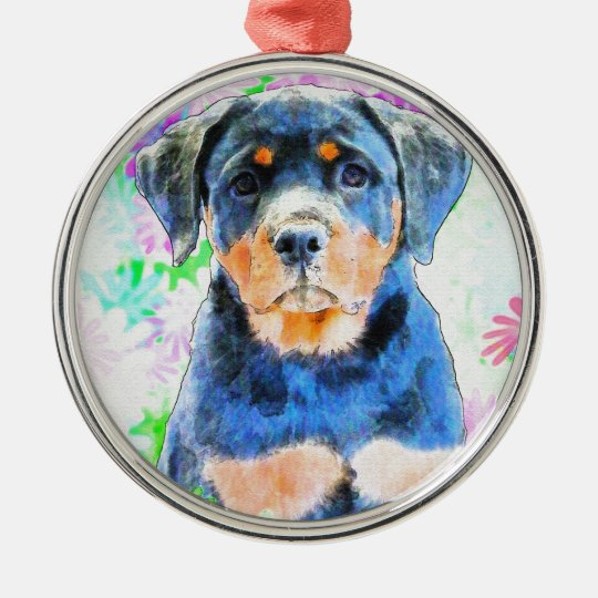 Rottweiler Puppy Silver-Colored Round Ornament