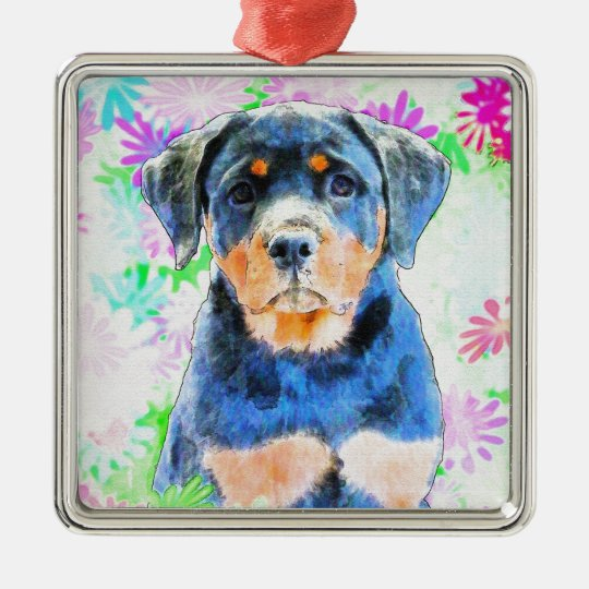 Rottweiler Puppy Silver-Colored Square Ornament