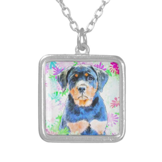 Rottweiler Puppy Silver Plated Necklace