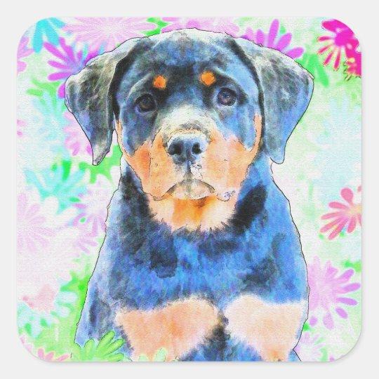 Rottweiler Puppy Square Sticker