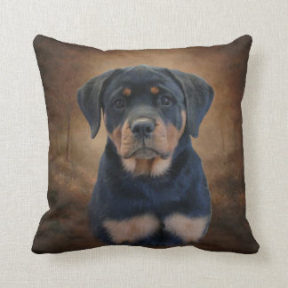Rottweiler Puppy Throw Pillow