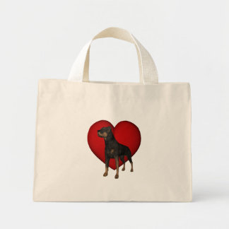 Rottweiler Red Heart Dog Tote Bag