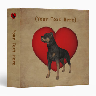 Rottweiler Red Heart Personalized 3 Ring Binders