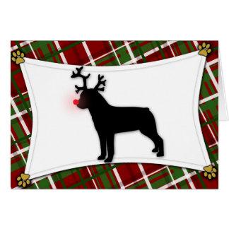 Rottweiler Reindeer Christmas Card