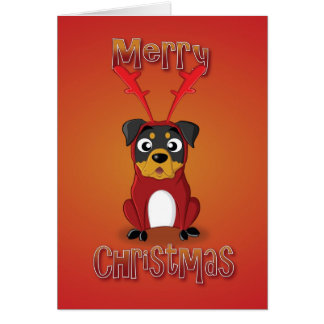rottweiler - reindeer costume - merry christmas card