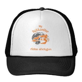 Rottweiler Rides Shotgun Halloween Tshirt Trucker Hat