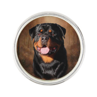 Rottweiler Round Lapel Pin, Silver Plated Lapel Pin