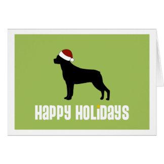Rottweiler Santa Hat Card