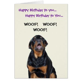 Rottweiler Sees the Mailman Birthday Card