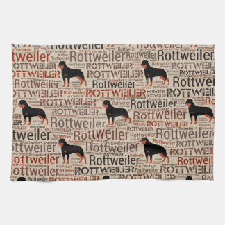 Rottweiler silhouette and word art pattern kitchen towel