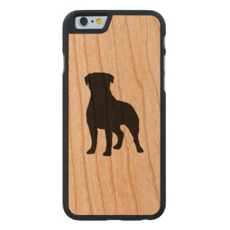 Rottweiler Silhouette Carved Cherry iPhone 6 Case