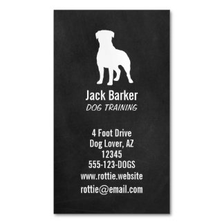 Rottweiler Silhouette Chalkboard Style Magnetic Business Card