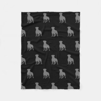 Rottweiler Silhouettes Pattern Black and Grey Fleece Blanket
