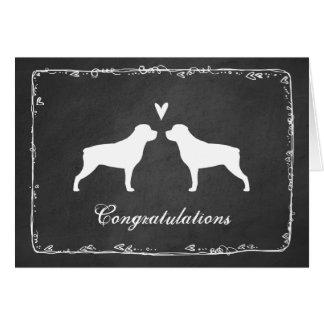 Rottweiler Silhouettes Wedding Congratulations Card