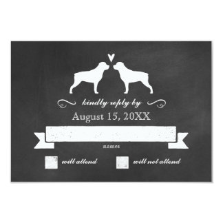 Rottweiler Silhouettes Wedding Reply RSVP Card