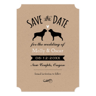 Rottweiler Silhouettes Wedding Save the Date Card
