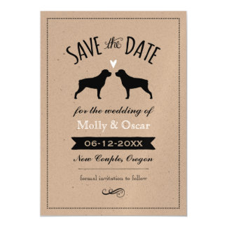 Rottweiler Silhouettes Wedding Save the Date Magnetic Card