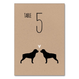 Rottweiler Silhouettes Wedding Table Card