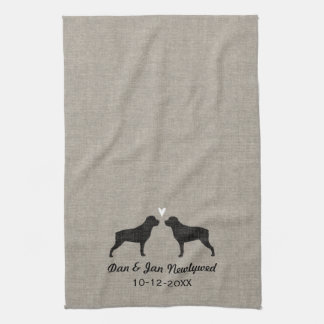 Rottweiler Silhouettes with Heart and Text Kitchen Towel