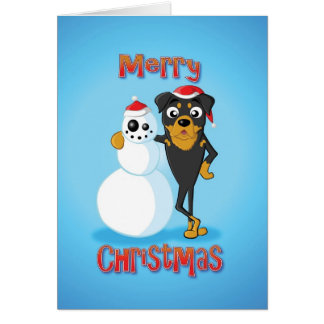 rottweiler - snowman - merry christmas card