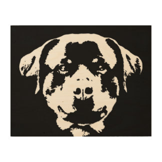 "Rottweiler Stencil Wood 14""x11"" Wall Art"
