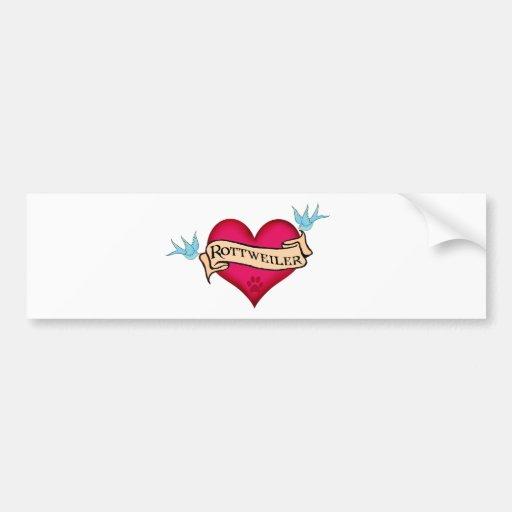 Rottweiler Tattoo Heart Bumper Stickers