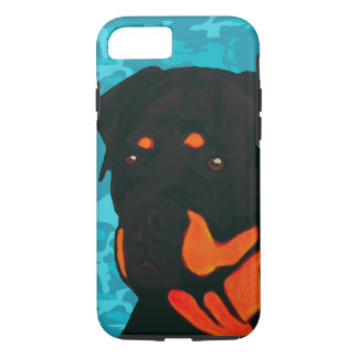Rottweiler with Blue Camo Case-Mate iPhone Case