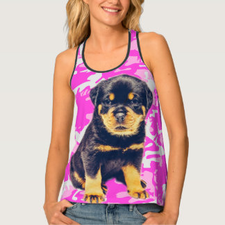 Rottweiler with Pink Camo Tank Top