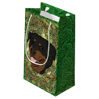 Rottweiler Wreath Small Gift Bag