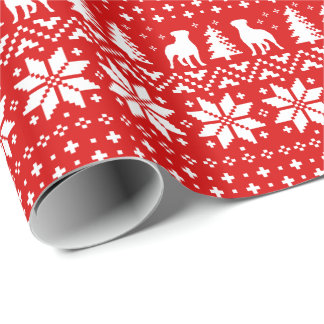 Rottweilers Christmas Sweater Pattern Red Wrapping Paper