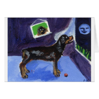 Rotweiler sees smiling moon card