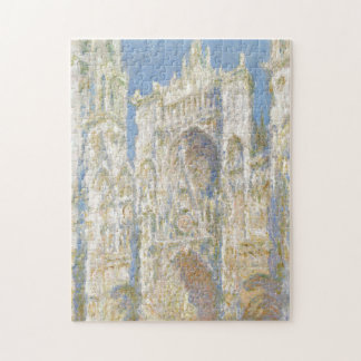 Rouen Cathedral West Facade Sunlight by Monet Jigsaw Puzzle