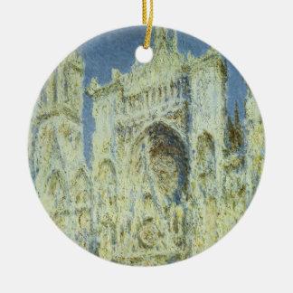 Rouen Cathedral West Facade Sunlight, Claude Monet Round Ceramic Ornament