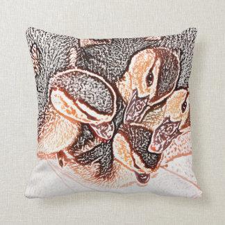 rouen ducklings sketch cute baby duck throw pillow