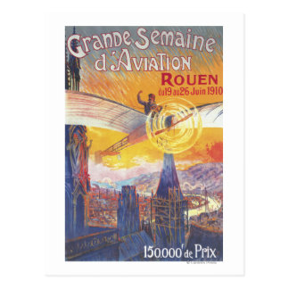 Rouen, France - Pilot and Plane Postcard