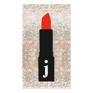 Rouge à lèvres mignon de maquilleur de paillette carte de visite standard