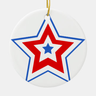 Rouge bleu d'étoile ornement de noël