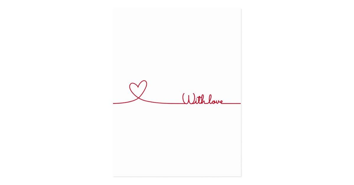 rouge coeur de dessin au trait avec amour cartes postales. Black Bedroom Furniture Sets. Home Design Ideas