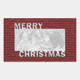 Rouge coupé de cadre de photo de Joyeux Noël Autocollant En Rectangle