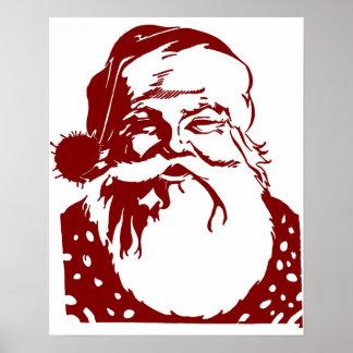 Rouge de Joyeux Noël d'art de bruit de Père Noël Poster