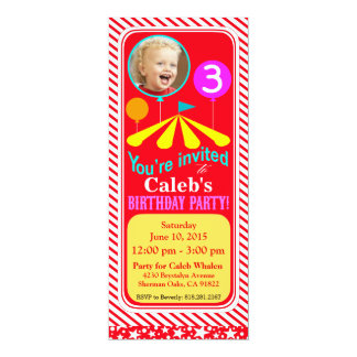 Rouge de la fête d'anniversaire d'amusement de carton d'invitation  10,16 cm x 23,49 cm