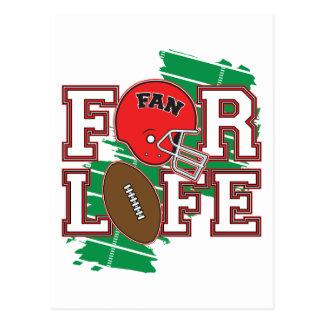 Rouge de passioné du football carte postale