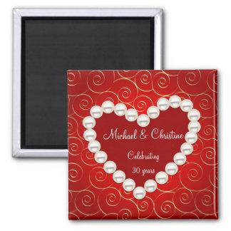 Rouge de perle de Faux et anniversaire imprimés Magnet Carré