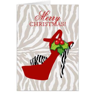 Rouge de zèbre de chaussure de talon haut de Noël Carte De Vœux